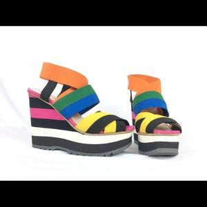 Prada elastic Stripe wedge sandals color block 6